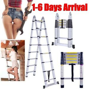 10 5ft Multi Purpose Aluminum Ladder Fold Step Telescopic Extend Garden Tools Us
