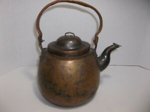 Antique Primitive Copper Tea Kettle Pot