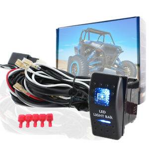 Blue 12v 24v Led Light Bar Toggle Switch Button Rocker W Relay Harness Wire