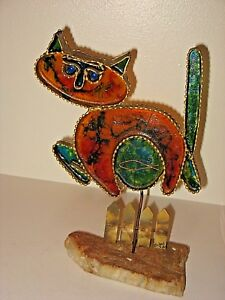 Vintage Mid Century C Curtis Jere Signed Abstract Brutalist Sculpture Cat Fence