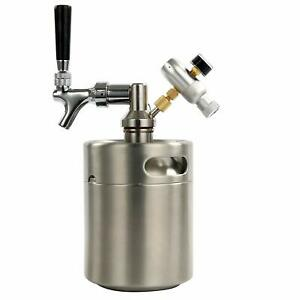 Yaebrew Homebrew Beer Keg System Kit Stainless Steel Keg Mini Co2 Regulator 64oz