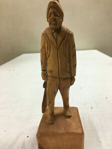 Hand Carved Wooden Figure Signed Hunter With Back Pack