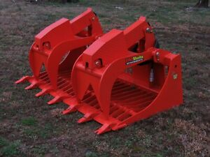 Kubota Skid Steer Attachment 66 Rock Bucket Grapple With Teeth Ship 199