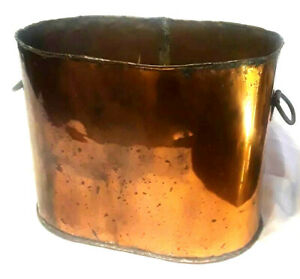 Antique Primitive Country Copper Boiler Wash Pot Planter Firewood Drinks Cooler