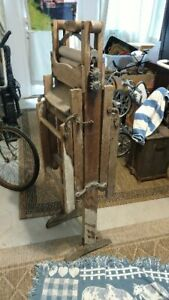 Antique Wooden Washing Machine With Wringer And Tub Stands