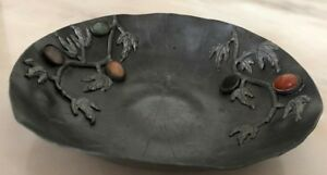 Old Antique Chinese Pewter Lotus Leaf Plate With Gemstones Marked China