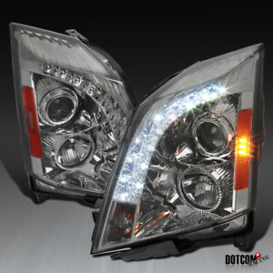 2008 2014 Cadillac Cts Smoke Lens Tinted Projector Headlights W Led Drl Strip