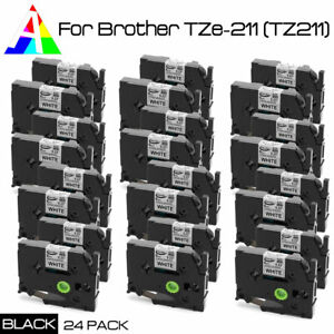 24pk Tz 211 Tze 211 Black On White Label Tape Compatible Brother P touch 6mm New