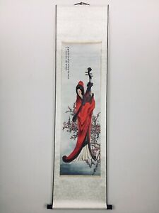 Beautiful Chinese Lady Water Color Hand Painting On Paper Scroll Silk Large 62