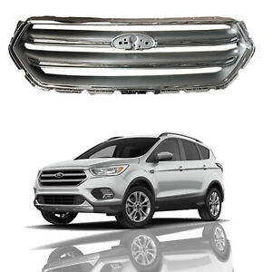 Fits 2017 2018 Ford Escape Front Hood Grille Silver Chrome Upper Bumper