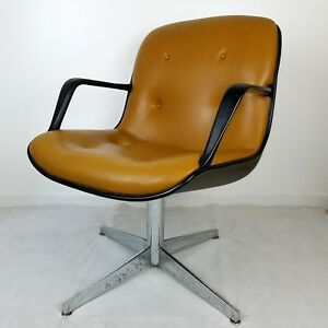 Vintage Steelcase Swivel Chrome Arm Chair Mid Century Modern Side Guest 1970s