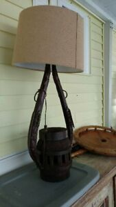 Vintage Rustic Lamp With Antique Wagon Wheel Hub And Horse Hames