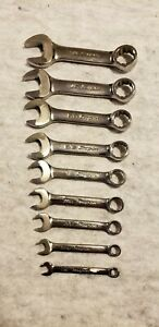 Snap On Tools Set 9pc Combination Short Stubby Wrenches 3 4 1 4 Ox124b Ox18b
