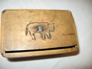 Antique Primitive Wooden Carved Cow Butter Press Stamp Mold