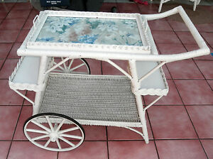 Vintage Wicker Tea Cart W Removable Tray