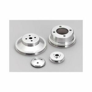 March Performance Pulley Set V Belt Aluminum Clear Chevy Big Block Set Of 3 7115