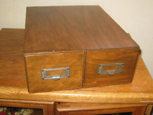 Antique Oak Library Index Card Catalog 2 Drawer File Box Table Top Cabinet