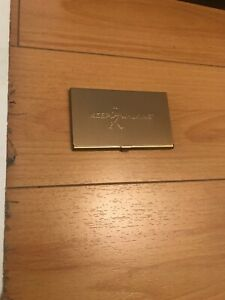 Rare keep Walking Gold Tone Business Card Holder Case New Old Stock