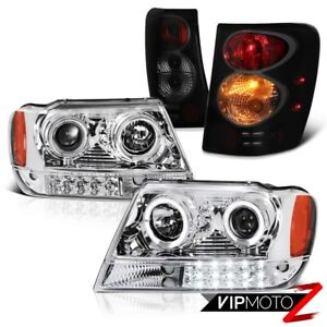 For 99 04 Jeep Grand Cherokee Wj Smoke Black Tail Lamp Halo Headlight Left Right
