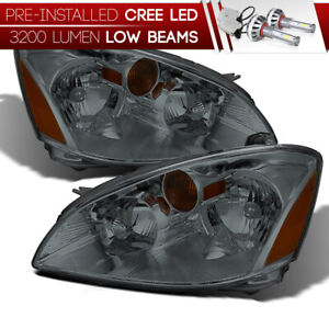 cree Led Bulb Installed For 02 04 Nissan Altima Smoked Replacement Headlight