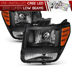 cree Led Bulb Installed 07 11 Dodge Nitro Black Replacement Headlight Assembly