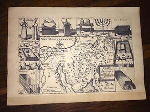 Old Map Israel Ancient Times World Plain Sea Cna An Amalecites Judea Arabia