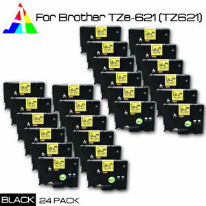24 Pk Tze 621 Black On Yellow Label Tape For Brother P touch Tz 621 New Us Stock