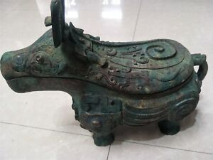 Chinese Bronze Pot Bull Gong Dragon Veins Lid Pots Dynasty Vessel