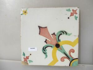 Vintage Ceramic Tile Vintage Floral Flower Flowers Leaf Old French Fleur De Lis