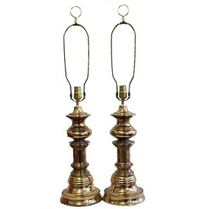 Pair Stunning Hollywood Regency Tall Brass Pagoda Table Lamps Stiffel