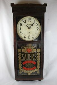 Antique New Haven Wall Regulator Advertising Clock Saver S Flavoring 7 Extracts