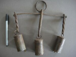 Antique Wind Chime Primitive Handmade Cow Bell Metal Great Patina Very Old