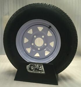 New15 Inch 5 On 5 White Spoke Trailer Wheel Mounted With St205 75 D15 Bias Ply