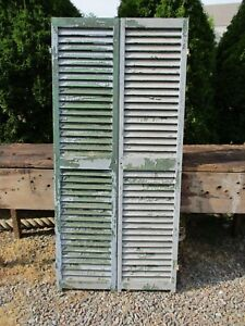 Pair Old Wood Shutters Distressed Chippy 65 1 2 X 15 1 8 Blue Green