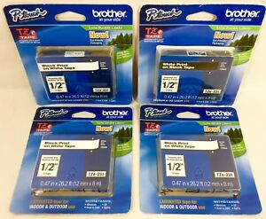 4 Pack Brother P touch Tze 231 Black On White Label Tape 1 2 Genuine 12mm Tz231