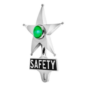 Safety Star License Plate Topper Chrome W Mini Moon Dual Function Green Led