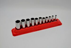 Snap On Tools 211sfsy 11 Pc 6 Pt Sae Deep Ratchet Socket Set 1 4 7 8 3 8 Dr