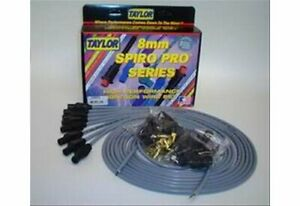 Taylor Cable Spark Plug Wires 8mm Gray 90 Degree Boots Universal L8 V8 Set