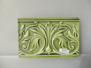 Antique Ceramic Border Tile Floral Flower Leaf Old Vintage Rococo Nouveau French