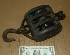 Vintage Block Pulley 3 Roller Old Nautical Marine Ship Tool A 12 X 5 1 2 Total