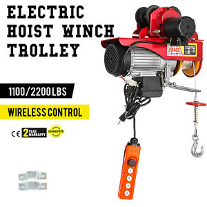 Electric Wire Rope Hoist W Trolley 1100 2200lbs 40ft Durable I beam Resistant