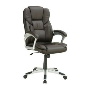Coaster Adjustable Lumbar Support Faux Leather Office Chair In Brown