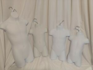 Children Infant Youth Clothing Mannequin Hanging Hollow Backed Set Of 4 Usa