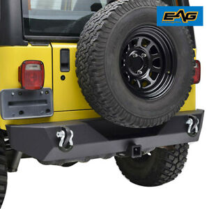 Eag Rear Bumper W D Ring Black Textured Fits 87 06 Jeep Wrangler Tj Yj