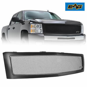 Eag 07 13 Chevy Silverado 1500 Replacement Grille Matte Black Mesh Front Hood