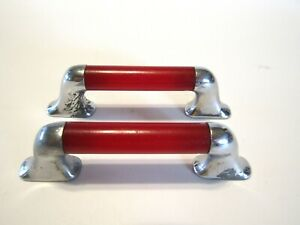 2 Vintage 40s Red Chrome Drawer Pulls Cabinet Door Handles Bakelite Art Deco