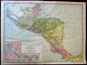 Central America Panama Canal Zone C 1913 Huge Rand Mcnally Detailed Map