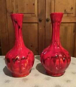 Vtg Mid Century Pair Of Red Glazed Pottery 10 1 4 Tall Vases Home Decor