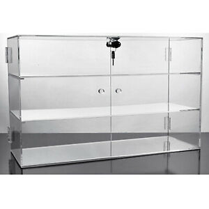 Small Locking Door Case Acrylic Countertop Showcase Store Display Fixture New