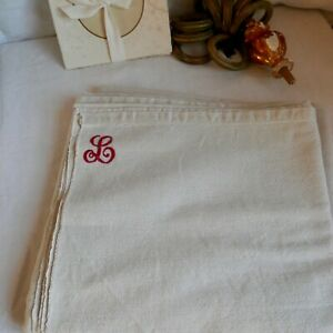 Antique Bedding Panel Off White Monogram L Single Sheet Bedcover French Decor